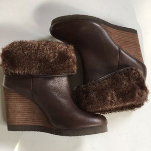 Like new Lucky Brand leather wedge boots